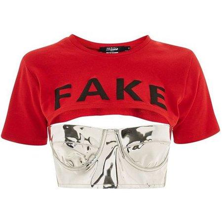 Fake Slogan Crop T-Shirt Bralet by Jaded London
