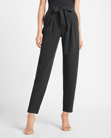 Super High Waisted Belted Twill Ankle Pant