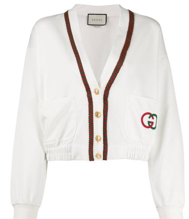 GUCCI White Cropped Cardigan