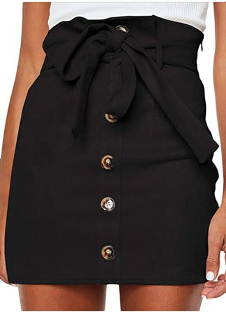 Meyeeka Women's Paperbag Waist Faux Suede Skirt Button Down Plain A-line Mini Short Skirt L Black at Amazon Women's Clothing store