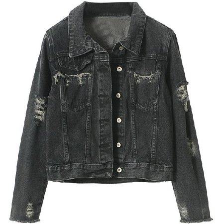 Black Denim Jacket (Distressed