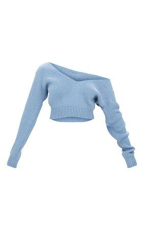 Adelaida Dusty Blue Off Shoulder Knitted Crop Jumper | PrettyLittleThing USA