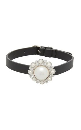 Pearl Embellished Leather Choker Necklace By Alessandra Rich | Moda Operandi