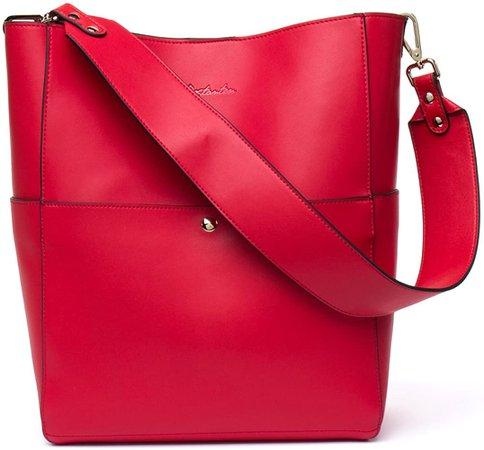 Amazon.com: BOSTANTEN Women's Leather Designer Handbags Tote Purses Shoulder Bucket Bags Red: Shoes
