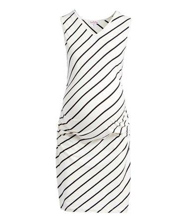 Times 2 Off-White & Black Stripe Sleeveless T-Shirt Dress | Zulily