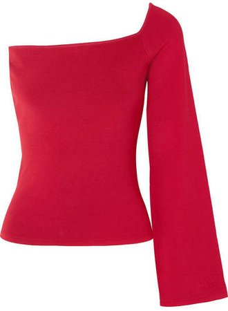 The Renata One-shoulder Stretch-knit Top - Red