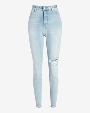 High Waisted Light Wash Ripped Curvy Skinny Jeans