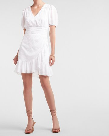 Clip Dot Ruffle Wrap Puff Sleeve Dress