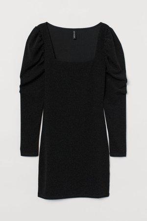 Puff-sleeved Jersey Dress - Black