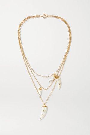 Ecru Aimable gold-tone horn necklace | Isabel Marant | NET-A-PORTER