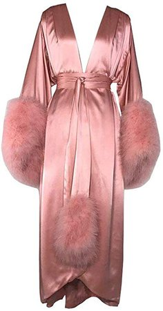 BathGown Women's Robe Fur Nightgown Bathrobe Sleepwear Feather Bridal Robe with Belt Pink at Amazon Women's Clothing store