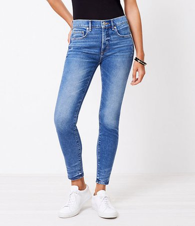 The Curvy Frayed High Waist Skinny Ankle Jean in Pure Mid Indigo Wash