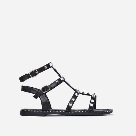 Gabriel Silver Studded Detail Gladiator Sandal In Black Faux Leather