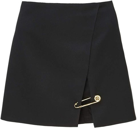 Embellished Wool Mini Skirt Size: 38