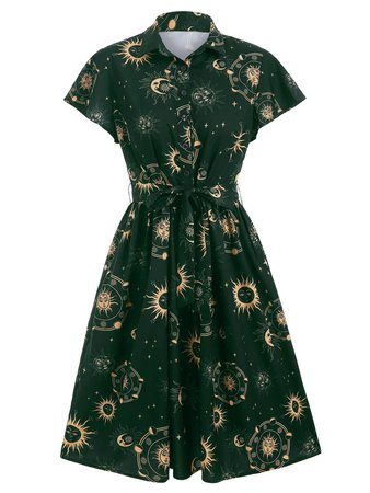 [47% OFF] Sun Moon And Star Print Belted Skater Dress | Rosegal