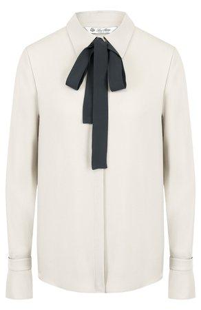 Женская светло-серая шелковая блуза с контрастным бантом LORO PIANA — купить за 120000 руб. в интернет-магазине ЦУМ, арт. FAI2563