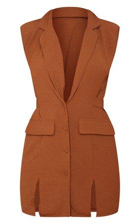 Chocolate Shoulder Pad Waist Tie Blazer Dress | PrettyLittleThing USA
