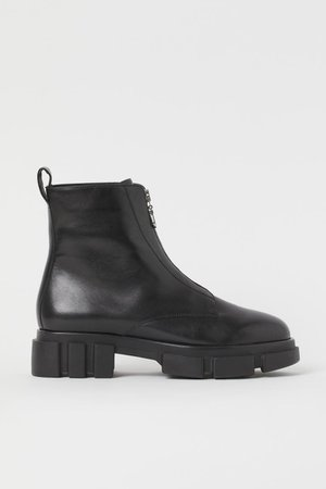 Zip-front leather boots - Black - Ladies | H&M