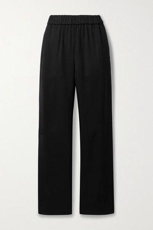 Twill Straight-leg Pants - Black