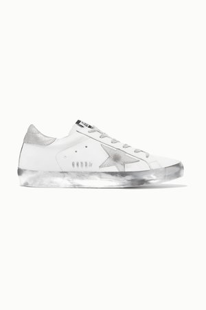 White Superstar distressed leather sneakers | Golden Goose | NET-A-PORTER