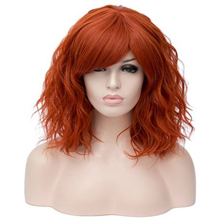 Alacos Fashion 35cm Short Curly Bob Anime Cosplay Wig Daily Party Christmas Halloween Synthetic Heat Resistant Wig for Women +Free Wig Cap (Dark Orange Side Parting)