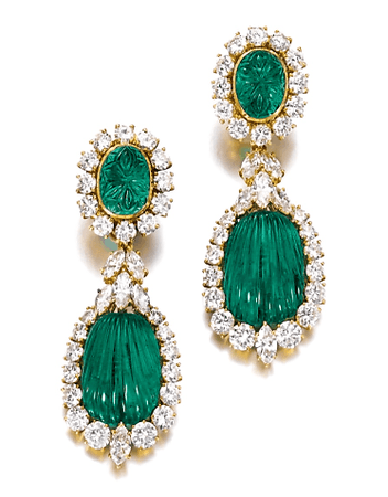 Emerald and diamond pendent earrings