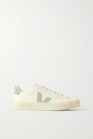 White + NET SUSTAIN Campo suede-trimmed leather sneakers | Veja | NET-A-PORTER