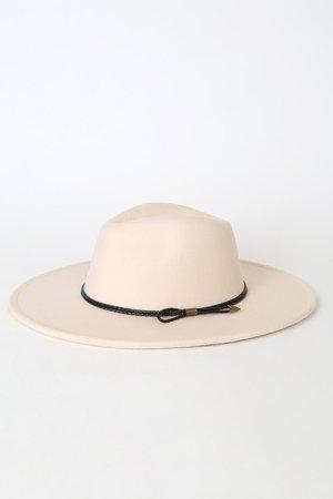 Cream Fedora Hat - Wide Brim Hat - Structured Hat