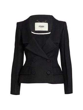 Fendi Wool & Silk V-Neck Double Breasted Jacket   SaksFifthAvenue