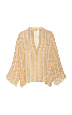 Three Graces London Angelique Striped Linen-Blend Top