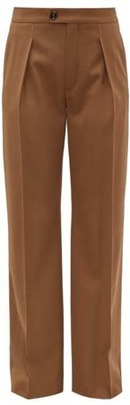 High Rise Pleated Wool Blend Trousers - Womens - Brown