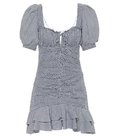 Gingham cotton and linen minidress