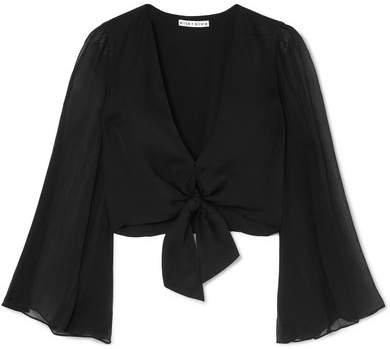 Alice Olivia - Prija Tie-front Silk Crepe De Chine Blouse - Black
