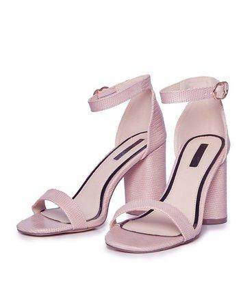 Miss Selfridge heeled sandals in pink | ASOS