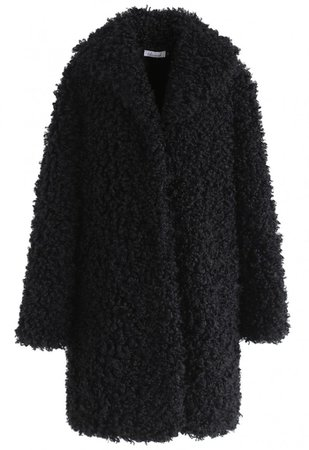 Feeling of Warmth Faux Fur Longline Coat in Black - OUTERS - Retro, Indie and Unique Fashion