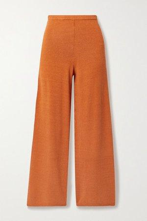 Shauna Linen-blend Wide-leg Pants - Orange
