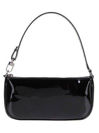 Black Leather Rachel Top Handle Bag