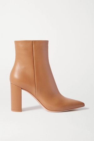 Beige Piper 85 leather ankle boots | Gianvito Rossi | NET-A-PORTER