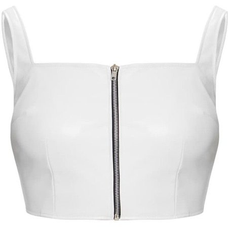 White Faux Leather Zip Front Crop Top ($25)