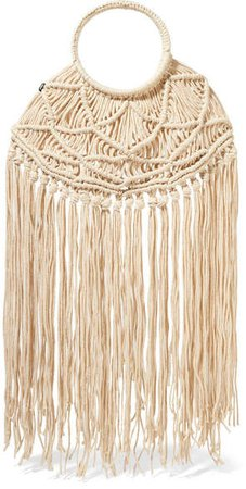 Net Sustain Manu Fringed Crocheted Tote - Cream
