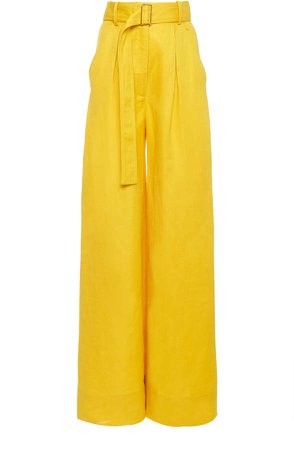 Matthew Bruch Wide Leg Pleated Linen Twill Pant Size: S