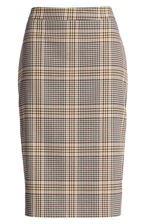 1.STATE Plaid Pencil Skirt brown