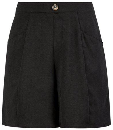 Black Button Seam Shorts