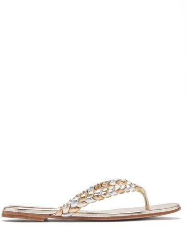 Tropea Braided Metallic-leather Sandals - Gold Silver