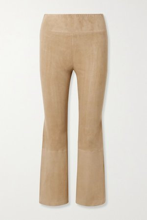 Cropped Suede Flared Pants - Sand