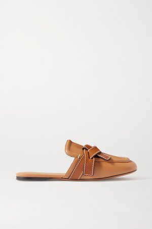 Gate Two-tone Topstitched Leather Loafers - Light brown