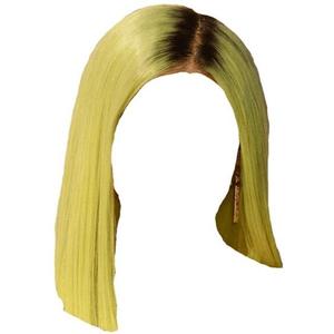 Short Straight Yellow Green Hair