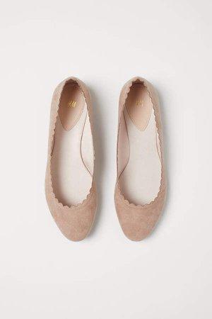 Scallop-edged Ballet Flats - Orange
