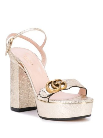 Shop gold Gucci Platform sandal with Double G with Express Delivery - Farfetch