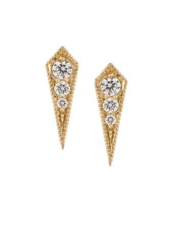 LIZZIE MANDLER FINE JEWELRY 18kt gold 'Kite' diamond stud earrings